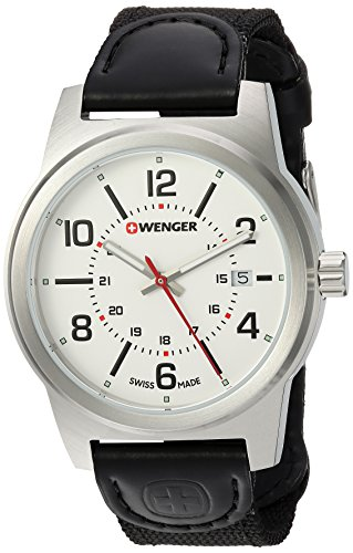 Wenger Men's 'Field Gear' Swiss Quartz Stainless Steel and Nylon Casual Watch, Color:Black (Model: 01.0441.162)