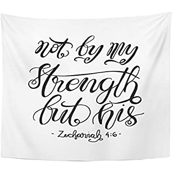 Amazon Com Emvency Tapestry Not By My Strength But His Bible Verse