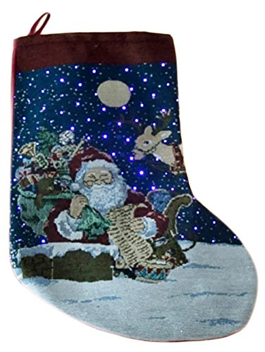 Light Up Santa Christmas Stocking by Clever Creations   Santa, Reindeer and Chimney Design   LED Stars   Festive Woven Fabric   Battery Operated Lights   Traditional Holiday Décor   17