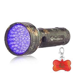 Fancy Home 51LED camuflaje luz UV Linterna Pet orina ordor manchas Detector cazador de Scorpion negro luz linterna con libre perro LED cuello luz indicador: ...