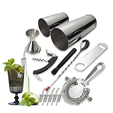 Tiger Chef 14 Piece Stainless Steel Bar Set & Cocktail Making Set Includes Bar Tools & Accessories