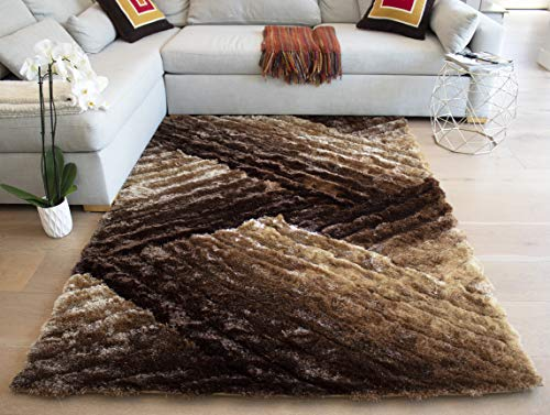 LA 3D Shag Shaggy Striped Woven Braided Hand Knotted Feizy Accent Fluffy Fuzzy Modern Contemporary Plush Decorative 8-Feet-by-10-Feet Polyester Made Area Rug Carpet Rug Brown Beige Gold Colors