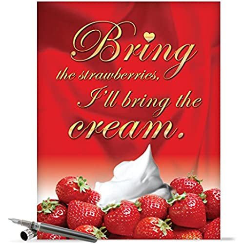 J2158 Jumbo Funny Valentine's Day Card: Strawberries and Cream With Envelope (Extra Large Version: 8.5 x 11) Sales