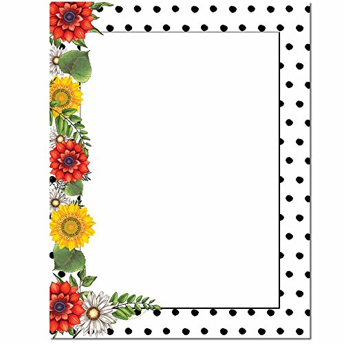 Daisy Dots Letterhead Laser & Inkjet Printer Paper, 100 pack Border Letterhead 100 Sheets
