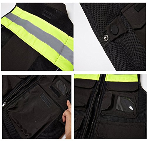 A.B Crew Reflective Motorcycle Biker Vest with Pockets High Visibility Base Safety Vest for Cycling Sport Street Racing, Green XL by A.B Crew (Image #1)