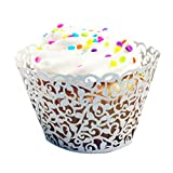 DZT1968(TM) 24pc Cup Muffin Little Vine Lace Cut Cupcake Wrapper Liner Baking (Silver)
