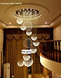 7PM H157'' x W55'' Modern Contemporary Luxury Round Large 11 Sphere Rain Drop Clear LED Crystal Chandelier for Hotel Mall Business Center Lighting Fixture