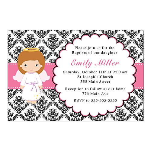 30 Invitations Personalized Girl Baptism Christening Pink Black Damask Angel Photo Paper (Invitation Damask Baptism)