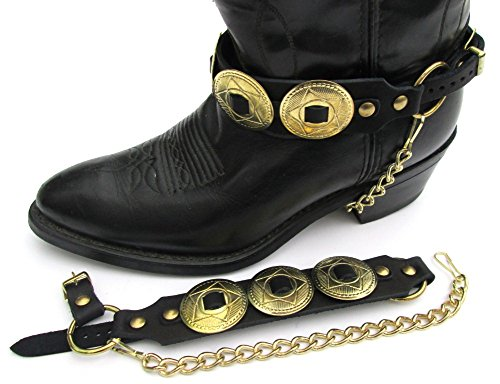 Dangerous Threads Western Boots Boot Chains Black Topgrain Cowhide Leather W Big Gold Star Conchos