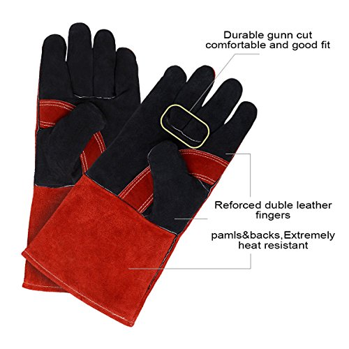 Leather Welding Gloves BOWOO Stitching Heat Resistant Glove for Tig/Mig/Stick/Gardening 14IN,1 pair (Red-Black) by BOWOO (Image #1)