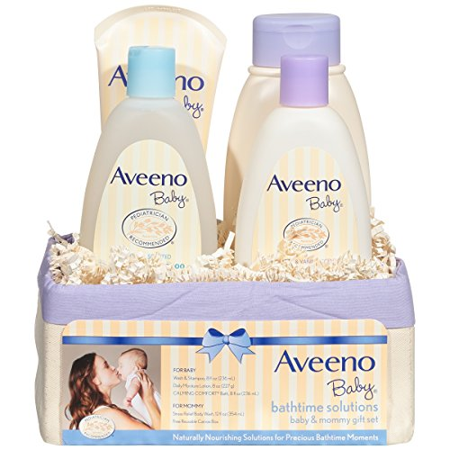 Aveeno Baby Daily Bathtime Solutions Gift Set to Nourish Skin for Baby and Mom, 4 (Baby Care Set)
