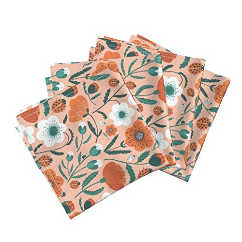 Roostery Poppy Flowers Organic Sateen Dinner Napkins Blush Floral Ladybug Summer Retro Mod Pink Orange Blossom by Wideeyedtree Set of 4 Dinner Napkins (Mod Ladybug)