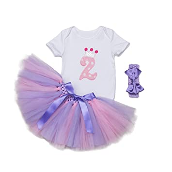 55dcb793c Amazon.com  Mornyray Baby Girls 2nd Birthday Tutu Short Outfit ...