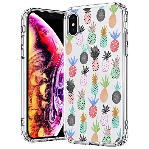MOSNOVO Case for iPhone Xs/iPhone X, Cute Pineapple Pattern Clear Design Printed Transparent Plastic Hard Back Case with TPU Bumper Protective Case Cover for iPhone X/iPhone Xs
