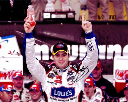 "'AUTOGRAPHED 2009 Jimmie Johnson #48 Lowe""s Racing Team DOVER WIN (Victory Lane Celebration) Signed NASCAR 8×10 Glossy Photo with COA'"