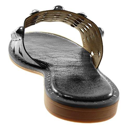 a Slip Blocco Nero Scarpe 2 Moda Borchiati Mules On Sandali Donna cm Angkorly Perforato Perla Tacco RwpUSqPUc