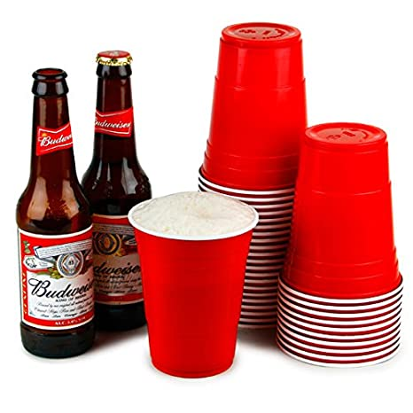 Vasos rojos americanos para fiesta 16 oz / 455ml - Pack de 50 | bar@drinkstuff Vasos rojos - Rubí, Manzana roja, Vasos de plástico - Vaso desechable, ...