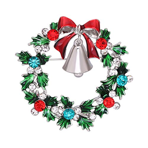 Seni Jewelry Christmas Brooch Pins Crystal Rhinestone Brooch with Tree Wreaths Bow Snowflake Wedding Xmas Jewelry (Wreaths) (Christmas Wreath Pin)