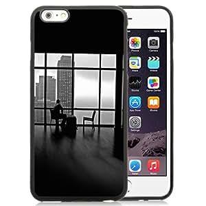 NEW Unique Custom Designed iPhone 6 Plus 5.5 Inch Phone Case With Man Alone Apartment Skyscrapers View_Black Phone Case