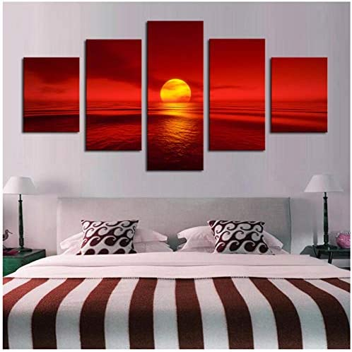 HD印刷写真キャンバス5パネル日没赤太陽海自然風景画家の装飾海景壁アート(フレームなし)30x40 30x60 30x80cm