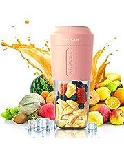 Mini bärbar mixer, PODOOR personlig mixer 350 ml smoothie skakmaskin fruktjuicemugg med fyra blad, handhållen juicemaskin 3 000 mAh uppladdningsbar för hem/kontor/sport/utomhus rosa