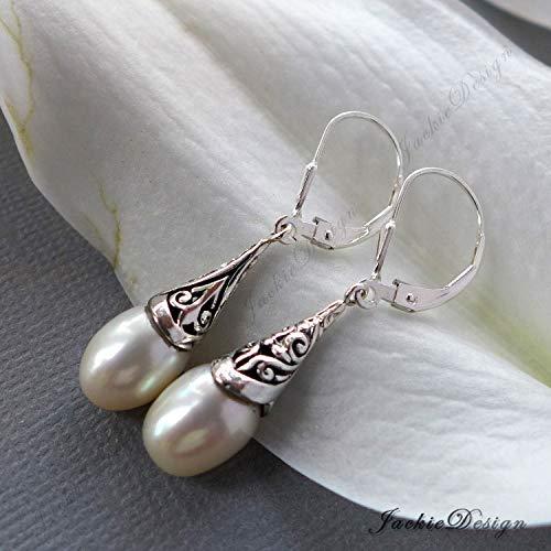 - 9mm White Pearl Drop Bali Sterling Silver Earrings JD202