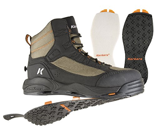 (Korkers Greenback Wading Boot with Felt & Kling-On Soles, Dried Herb/Black , Size 10)