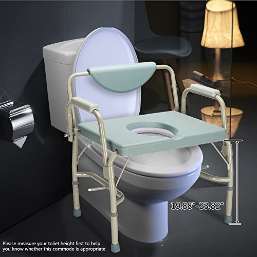 Mefeir Bedside Commode Chair FDA Approved 550 Lbs Heavy Duty Drop Arm Medical, Homecare Toilet Seat with Safety Steel Frame, 6 Quart Capacity Pail, Adjustable Height Support Tool-Free Assembly