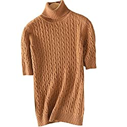 Dissa F5211 Women Loose Solid Sweater Turtle Neck Short Sleeve 100 Cashmere Sweater Pullover Brown M Us 4