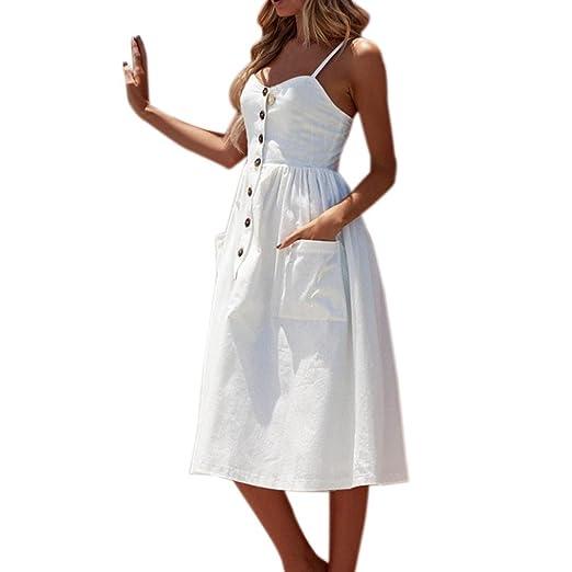 aac49cca009 CieKen Womens Summer Dress, Sexy Strap Spaghetti Buttons Off Shoulder  Princess Dress Sleeveless Sundress (