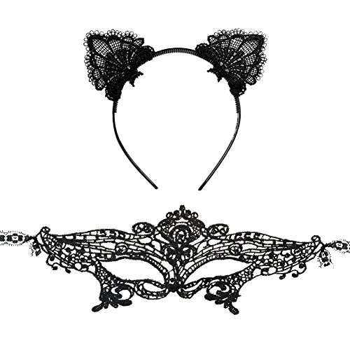 Mwfus Women Lace Masquerade Face Eye Mask with Cute Cat Ear Headband Costume (Cat Eye Halloween Makeup)