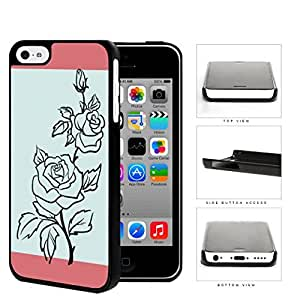 Black Rose Outline With Blue Background Hard Plastic Snap On Cell Phone Case Apple iPhone 5c