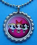 1 Powerpuff Girls Silver Bottle Cap Pendant Necklace #9