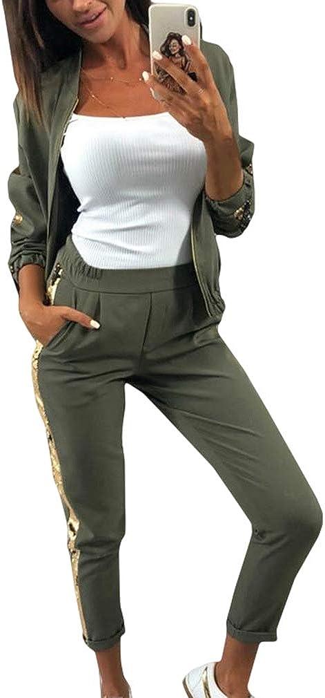 WEIMEITE Chándal con Lentejuelas Laterales para Mujer Conjunto de Dos Piezas Cremallera Manga Larga Patchwork Deportes Streetwear Chándales Mujer