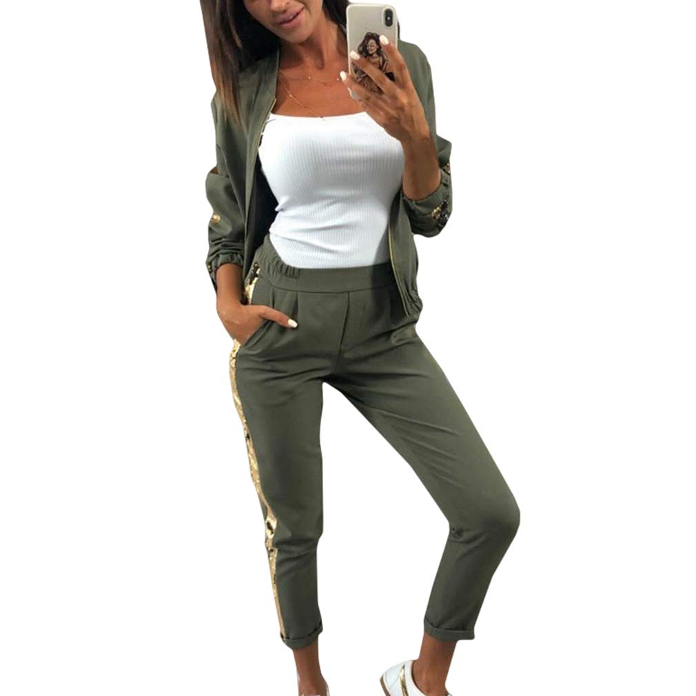 Yying Glitter Tuta da Donna Set da Autunno a Due Pezzi Set Top e Pantaloni da 2 Pezzi Set da Donna Abiti Sportswear da Donna Tute