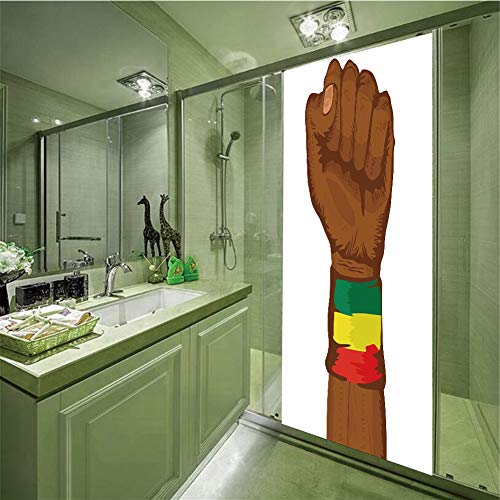 (No Glue Static Cling Glass Sticker,Rasta,Ethiopian Rebellion Symbol Wrist with Flag Colors Art Print Decorative,Brown Green Yellow Red and Green,35.43