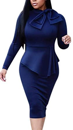 132bbaea4fc8 Alion Women Bow Tie Neck Long Sleeves Solid Cocktail Bodycon Peplum Dress 1  XS