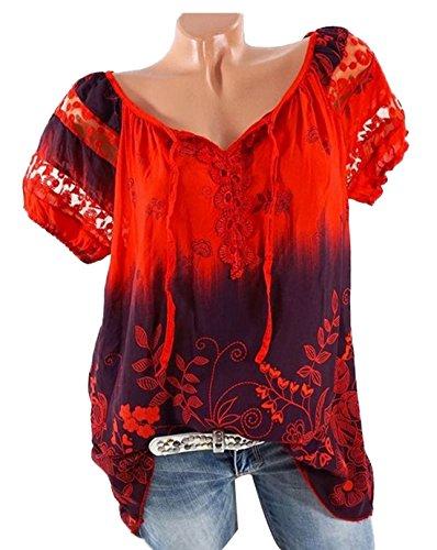 Tops Casual Imprim Blouse lgant V New Hauts Col Rouge T Chemisiers Dentelle en Tee Manches t Loose Shirt pissure Courtes Femmes PgnI1O0xn