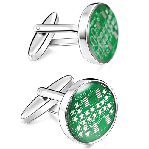 MOWOM Green Silver Tone 2PCS Rhodium Plated Enamel Cufflinks Circuit Board Shirt Wedding Business