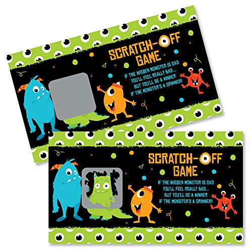Big Dot of Happiness Monster Bash - Little Monster Birthday Party or Baby Shower Game Scratch Off Cards - 22 Count ()