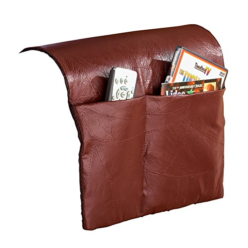 Collections Etc Patchwork Leather Armchair Storage Saver, Brown