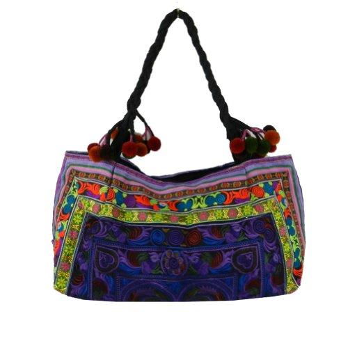 BenThai Products, Borsa tote donna Viola Multicolor Large