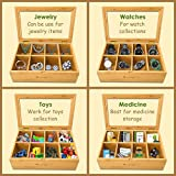 Woodcha Natural Bamboo Tea Box Storage Organizer- 8 Compartments Tea Bag Holder with Clear Glass Lid- Natural Wooden Finish Tea Storage Organizer