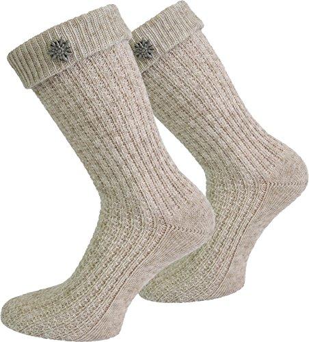 Trachten Umschlag Socken im Landhaus-Stil mit aufwändiger Applikation Farbe Naturmelange mit Edelweiß-Anstecker Größe 43/46