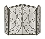 Traditional Rectangular Black Tin Scrollwork on Mesh Design 3-Panel Fire Screen