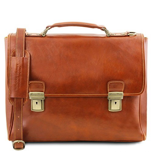 Tuscany Leather Trieste Exclusive leather laptop case with 2 compartments Honey by Tuscany Leather