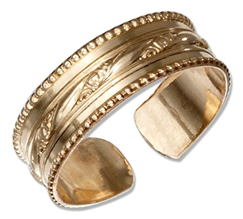 Floral Toe Ring (12 Karat Gold Filled Toe Ring with Floral Stripe and Beaded Edges)