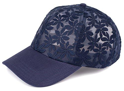 H-6053-31 Floral Print Baseball Cap - Sheer Daisy (Navy)
