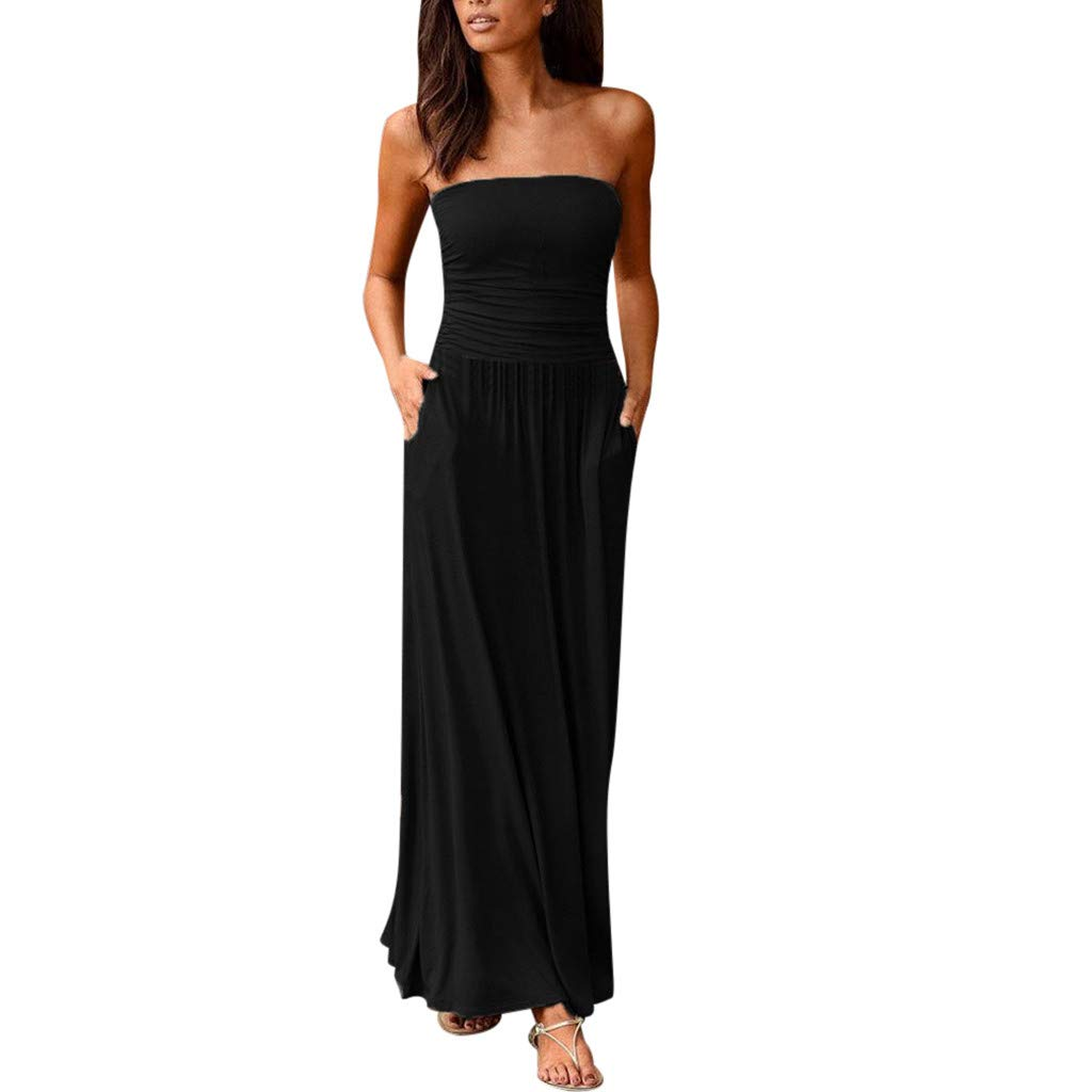 Mimfor 2019 Womens Bandeau Holiday Off Shoulder Long Dress Ladies Summer Solid Maxi Dress(Black,XX-Large) by Mimfor