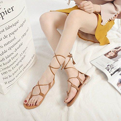 Ladies Sandali Toe Brown Romani Flip Flat Flop Gladiator Shoes Infradito Summer Womens Open Laces Sandali wZqxrgYZ4